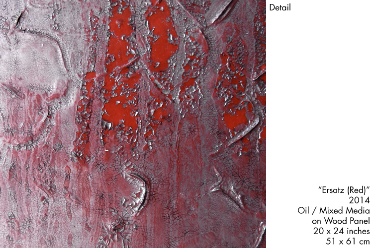 Damir Polic - Ersatz (Red), Detail, 2014, Oil / Mixed Media on Wood Panels, 20 x 24 inches / 51 x 61 cm